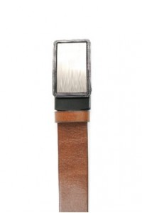 Brown leather belt with...