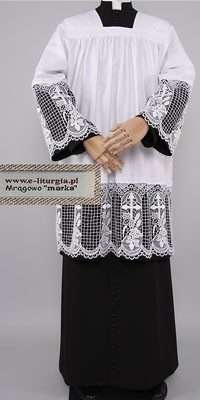 Surplices with 30cm Guipure Lace - Lined with Black Fabric
